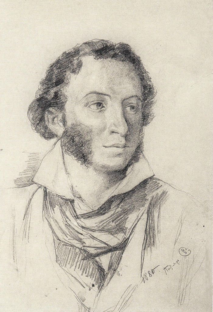 Valentin Aleksandrovich Serov. Portrait of Alexander Pushkin (drawing from works by V. A. Tropinin)