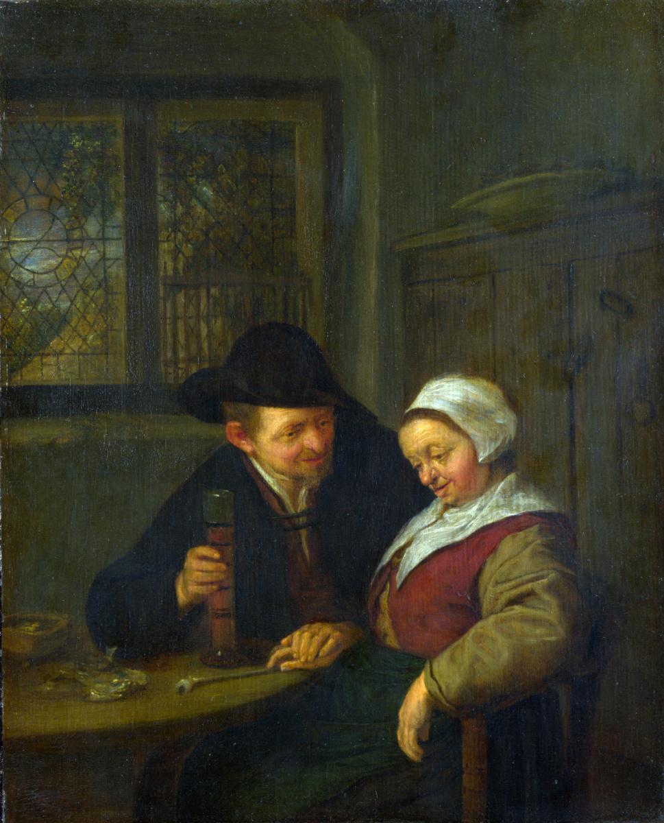 Адриан Янс ван Остаде. Крестьянин ухаживает за пожилой женщиной