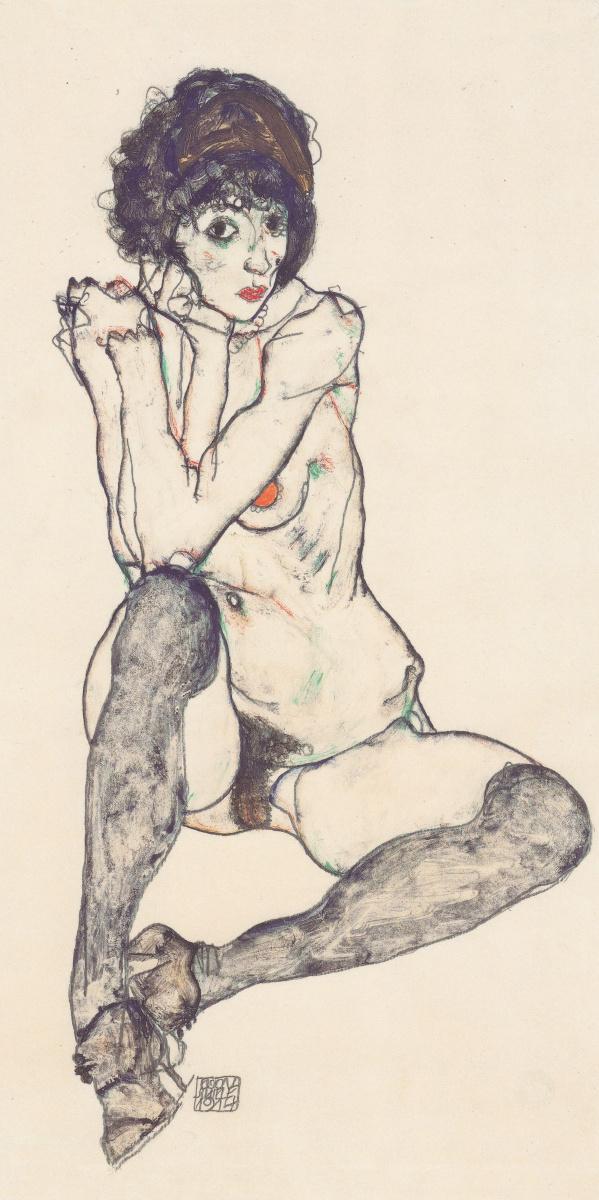 Эгон Шиле. Сидящая обнаженная