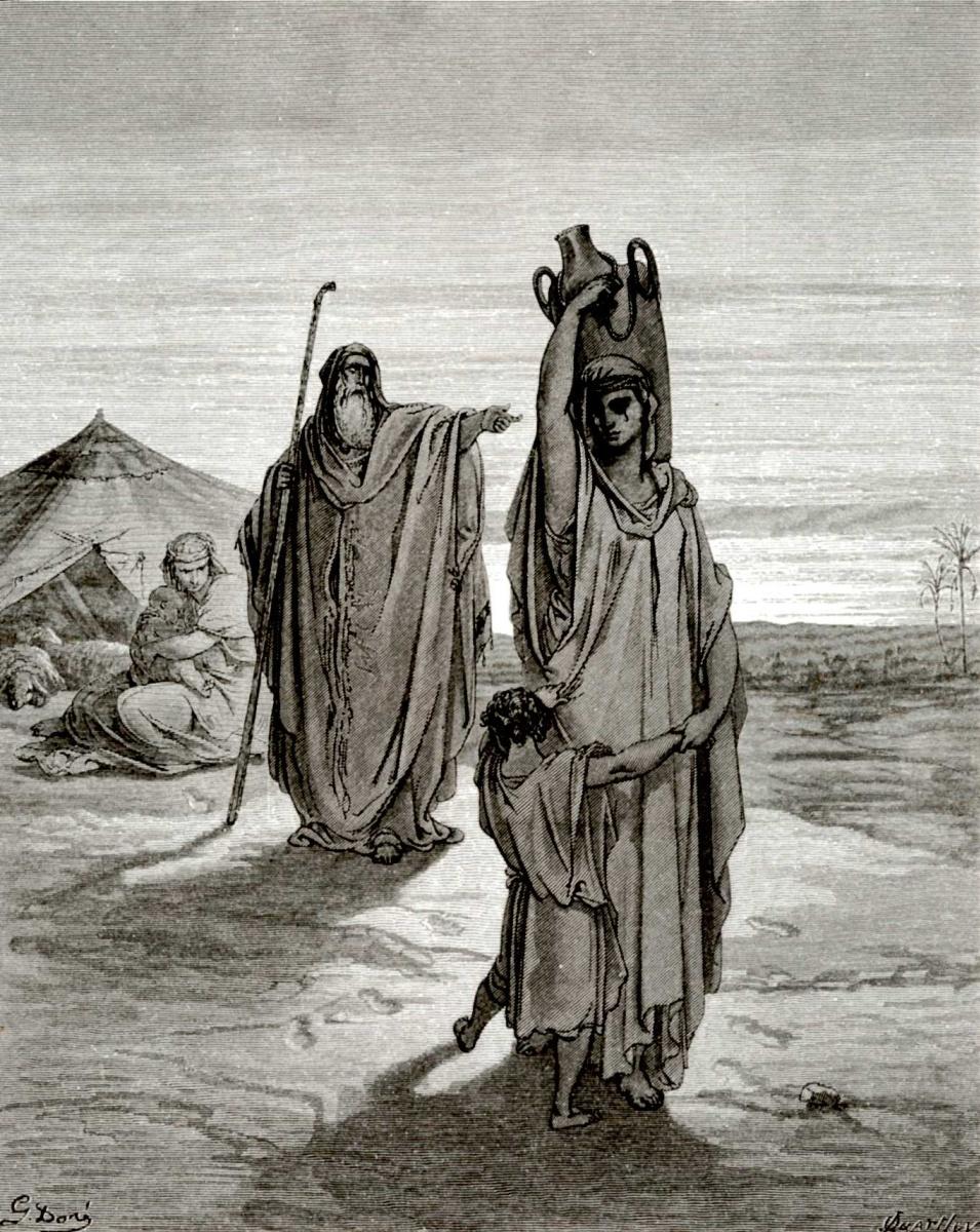 Поль Гюстав Доре. Иллюстрации к Библии: изгнание Агари и Измаила