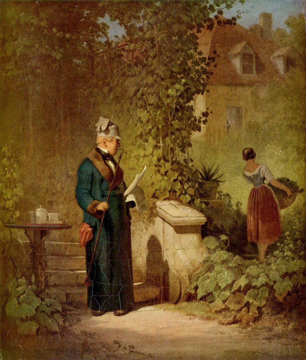 Karl Spitzweg. Reading the newspaper in the garden