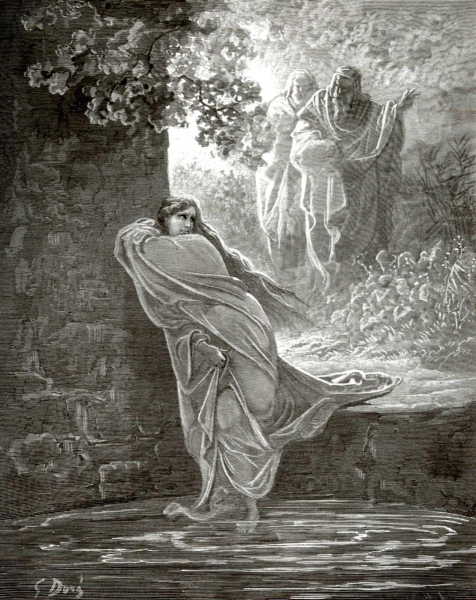 Поль Гюстав Доре. Иллюстрация к Библии: Сусанна в купальне