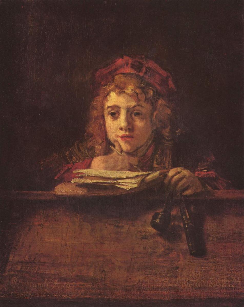 Рембрандт Ван Рейн. Портрет пишущего Титуса за столом