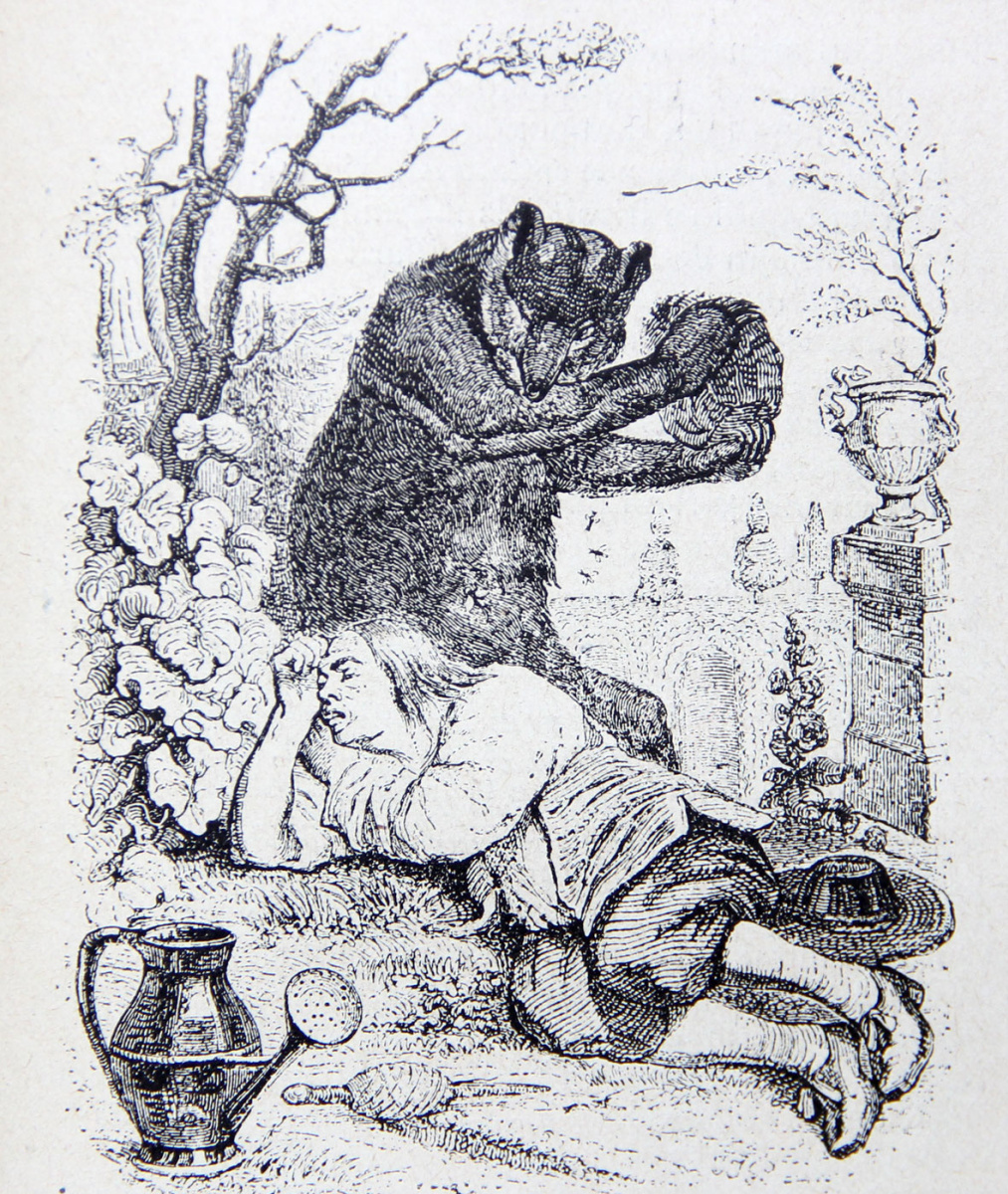 Жан Иньяс Изидор (Жерар) Гранвиль. Медведь и Садовник. Иллюстрации к басням Жана де Лафонтена
