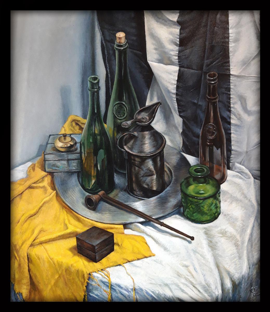Olga Ray. Натюрморт с бутылками и трубкой