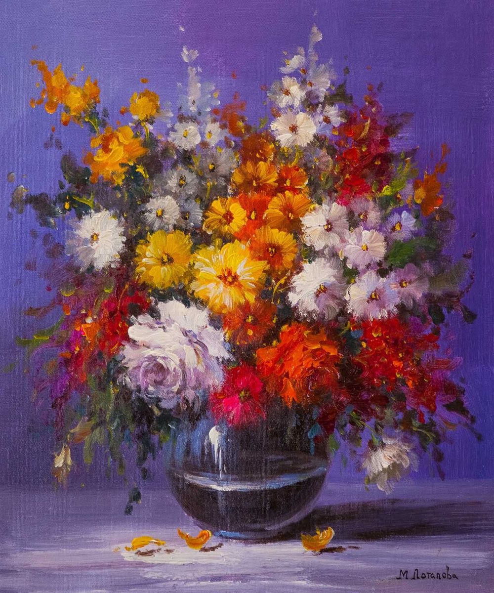 Maria Potapova. Bouquet of roses and garden asters in a vase