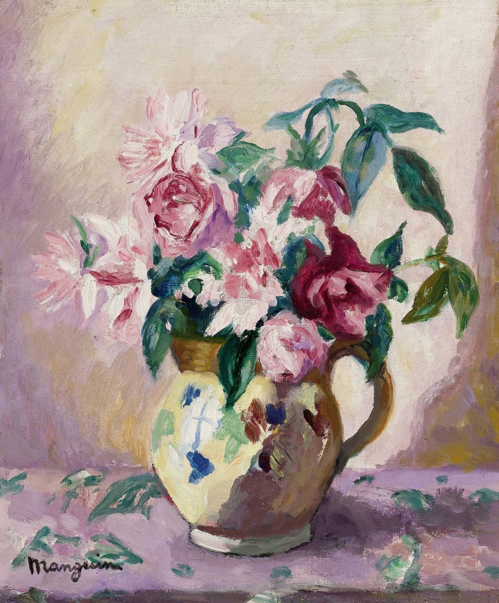 Henri Manguin. Roses in a yellow pitcher