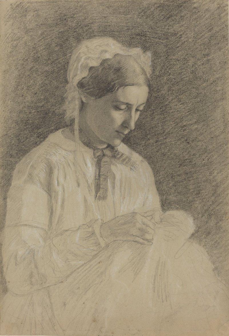 Edgar Degas. A woman embroiders