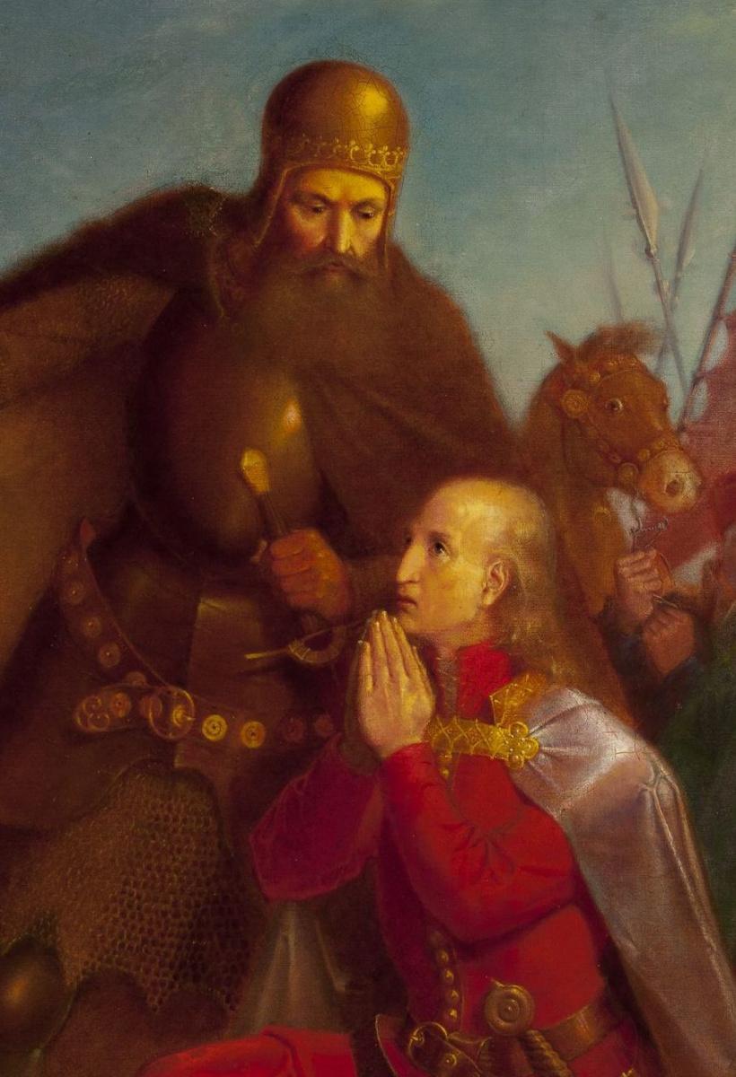 Ян Матейко. Владислав Ягелло с Витольдом молятся перед битвой при Грюнвальде. Фрагмент