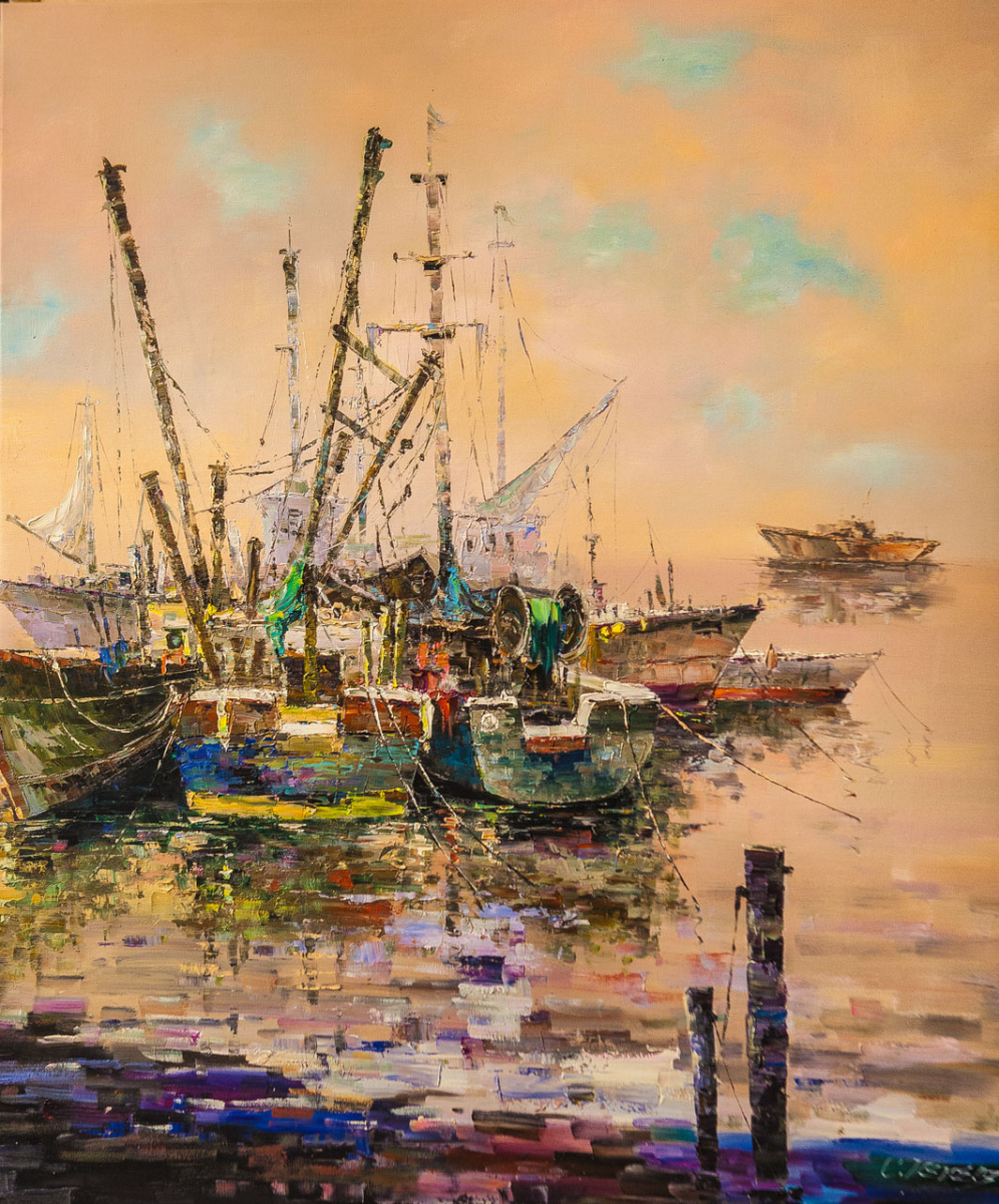 (no name). Fishing boats in the sunset haze