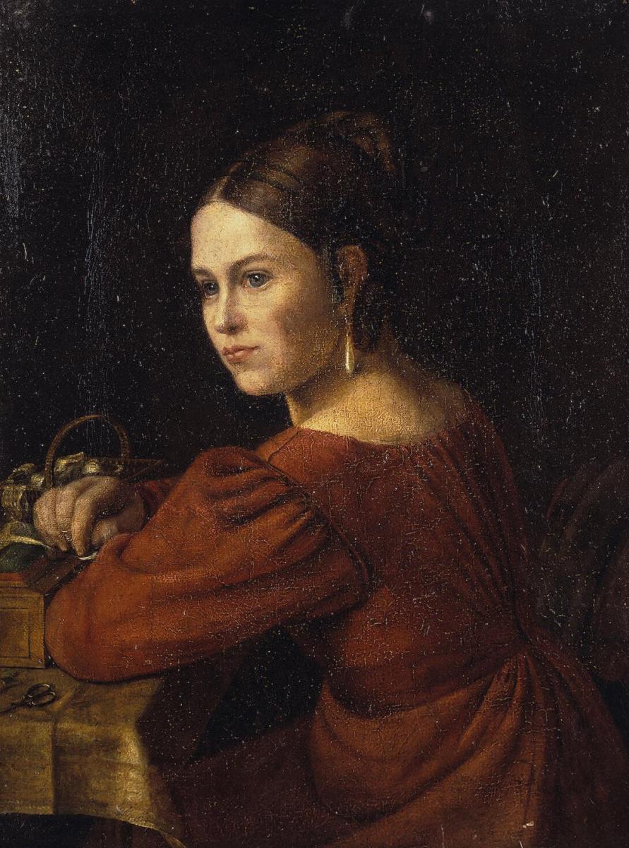 Александр Григорьевич Варнек. Портрет молодой женщины в темно-красном платье