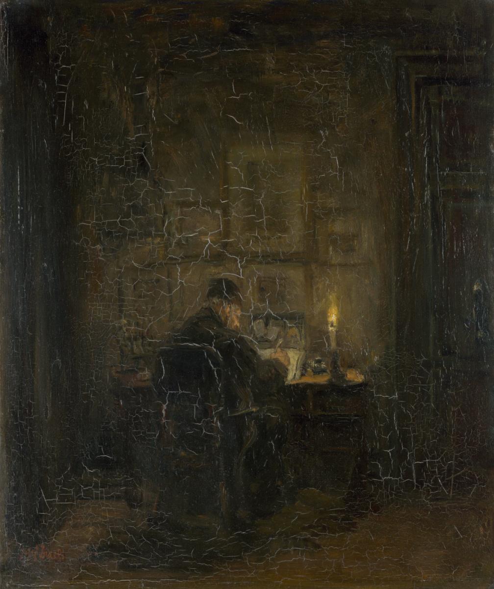 Йозеф Исраэлс. Старый человек, пишущий при свечах