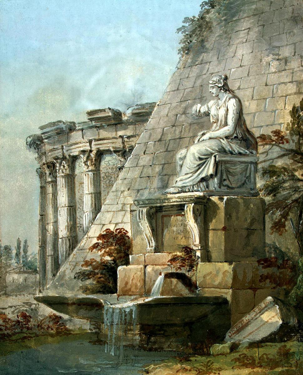 Шарль-Луи Клериссо. Архитектурная фантазия со статуей Терпсихоры
