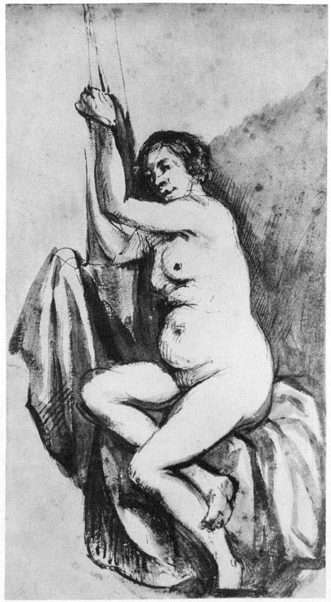 Рембрандт Харменс ван Рейн. Сидящая обнаженная натурщица