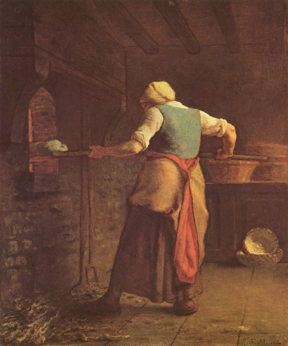 Jean-François Millet. Woman baking bread