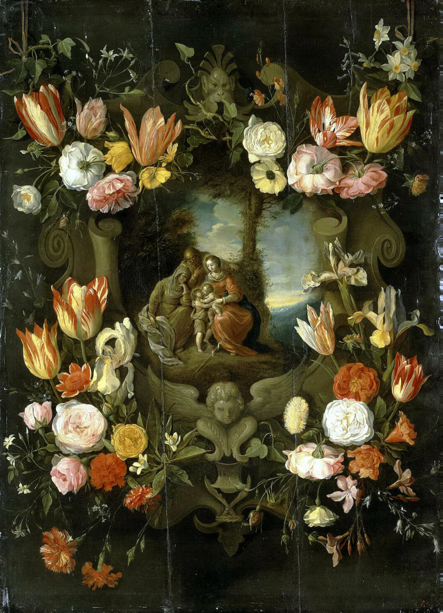 Ян Брейгель Младший. Святое Семейство в обрамлении цветов