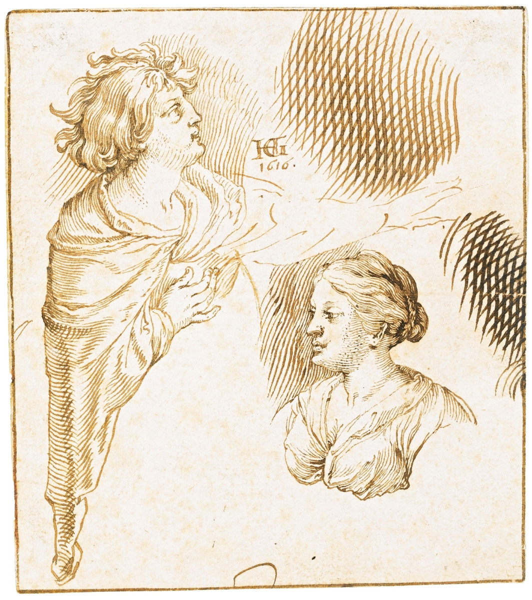 Hendrik Goltzius. Sketch with two figures. 1616
