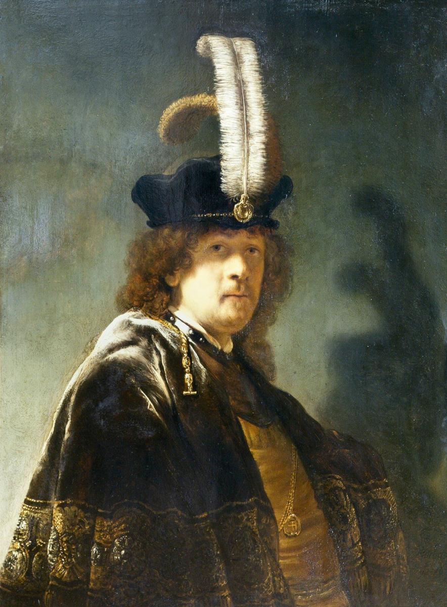 Рембрандт Харменс ван Рейн. Автопортрет в шляпе с белыми перьями