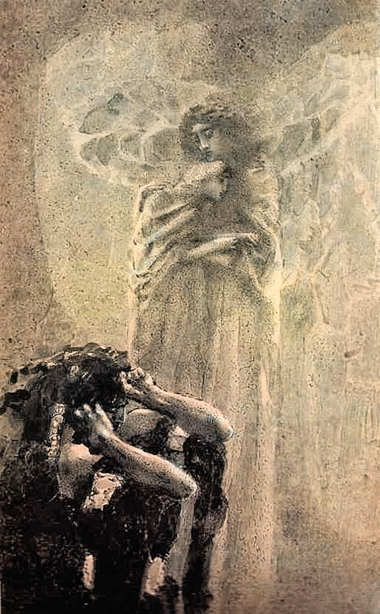 "Mikhail Vrubel. Demon and angel with Tamara's soul. Illustration to the poem by Mikhail Lermontov ""Demon"""