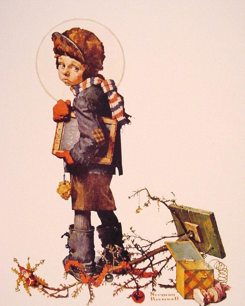 Норман Роквелл. Мальчик с доской для письма