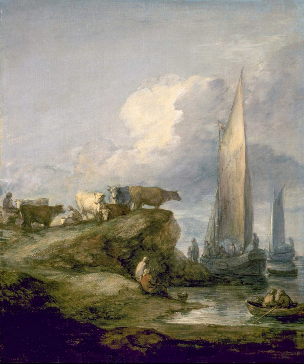 Thomas Gainsborough. Coastal landscape with fishing boats and cows on the hills