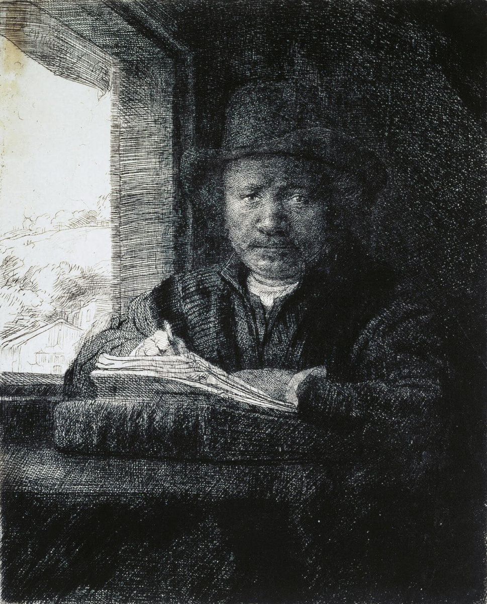 Рембрандт Ван Рейн. Рембрандт, рисующий у окна