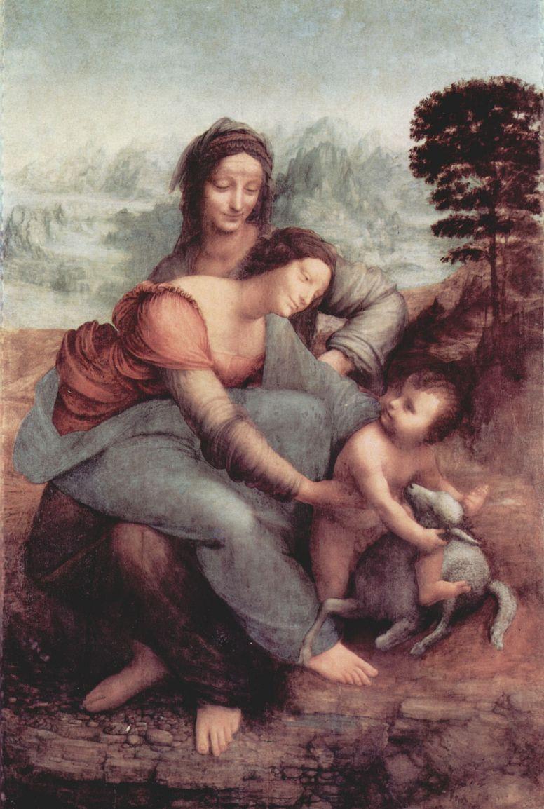 Леонардо да Винчи. Св. Анна со св. Марией и младенцем Христом