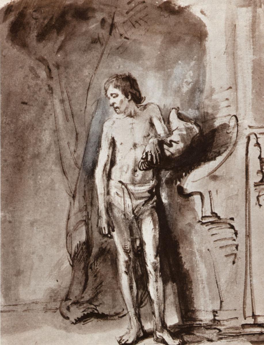 Рембрандт Харменс ван Рейн. Стоящий обнажённый