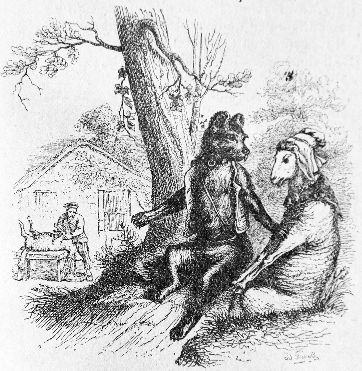 Jean Inias Isidore (Gerard) Granville. Sheep and the Dog. Illustrations to the fables of Florian