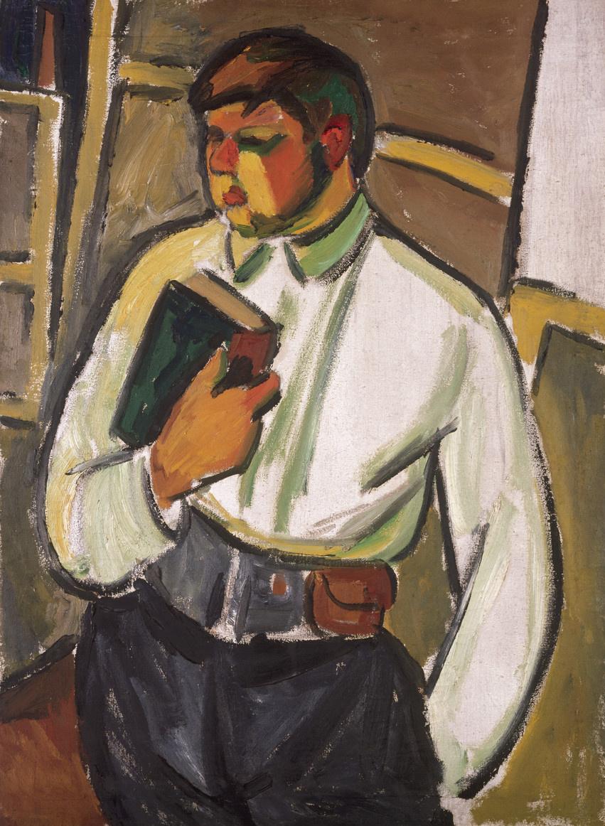 Михаил Федорович Ларионов. Портрет мужчины с книгой