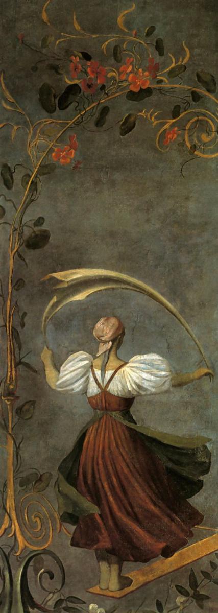 Алексей Гаврилович Венецианов. Девушка на качелях. Левая часть панно