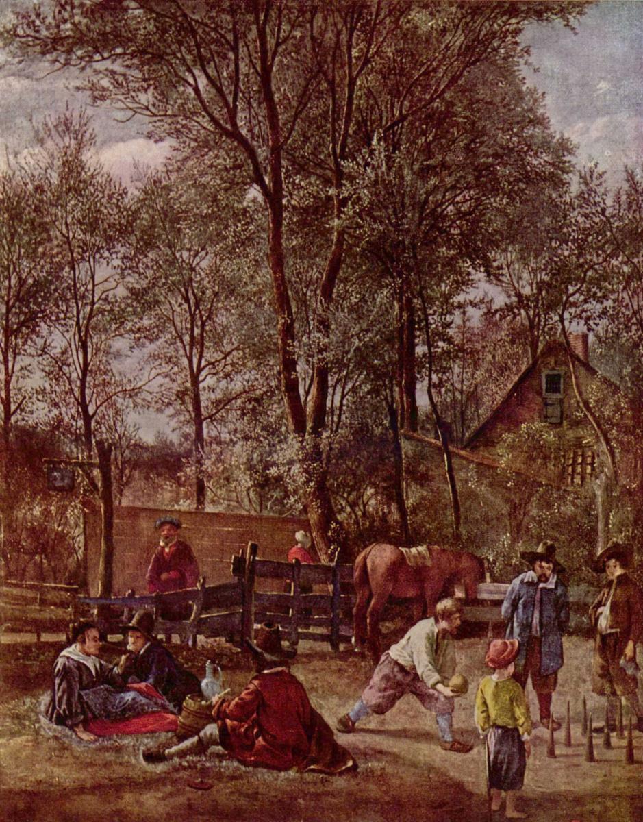 Ян Стен. Игроки в кегли перед трактиром