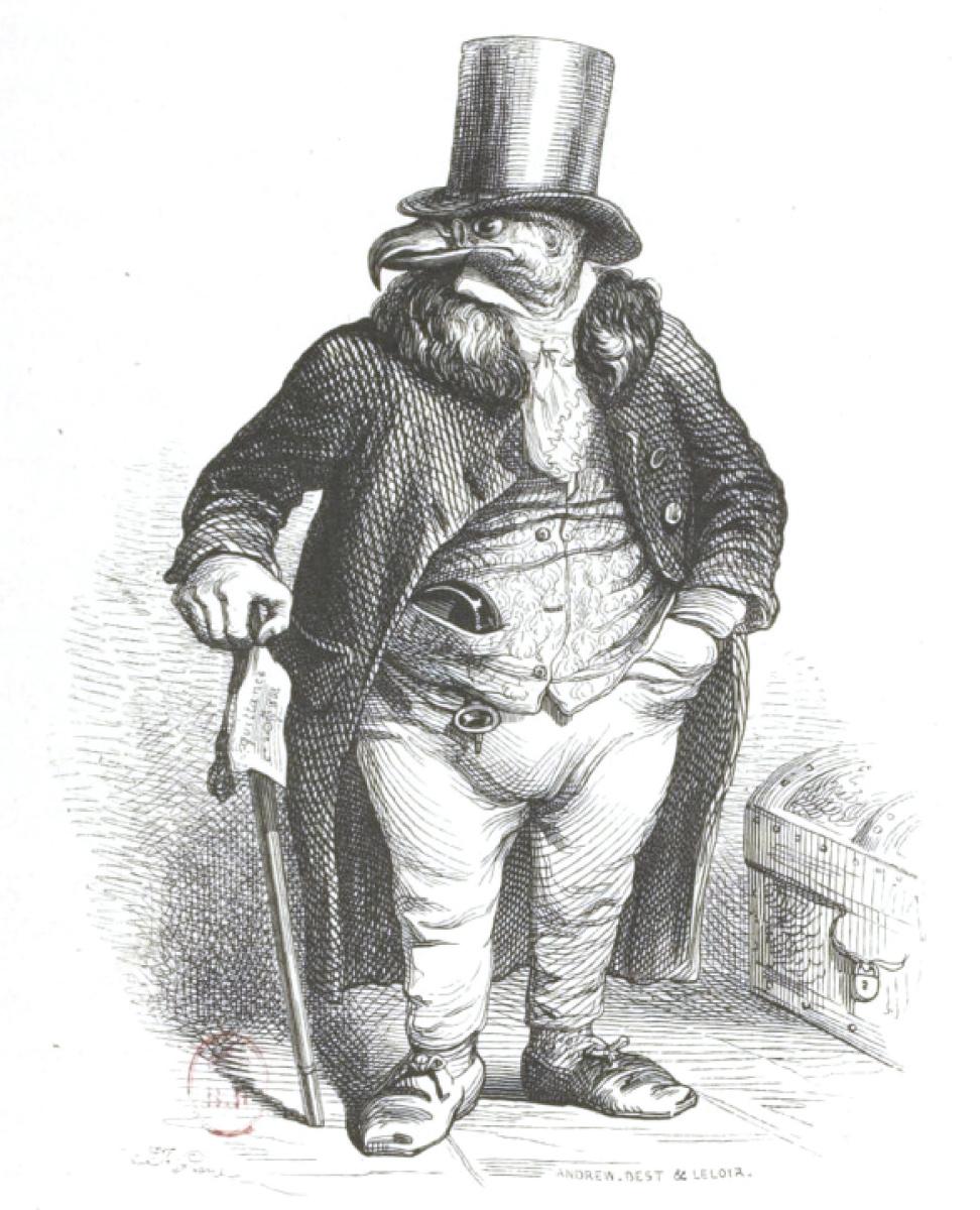 """Жан Иньяс Изидор (Жерар) Гранвиль. Большой и тяжелый человек. """"Сцены общественной и частной жизни животных"""""""