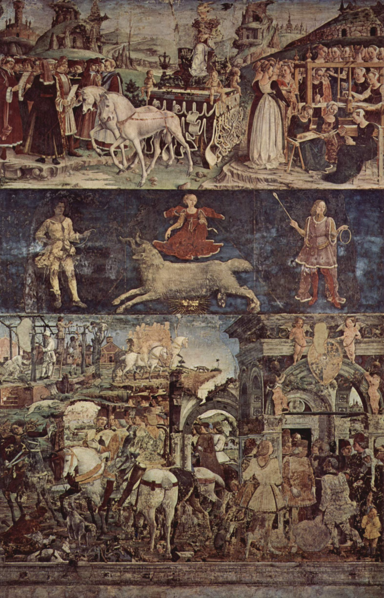 Франческо дель Косса. Фрески с изображением месяцев марта, апреля и мая во дворце Скифаноя, март -- триумфальное шествие Минервы, панорама
