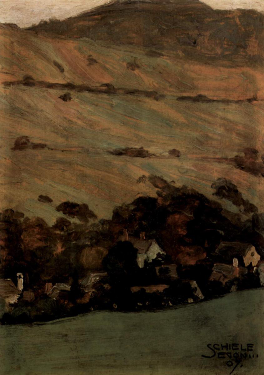 Egon Schiele. Homes near mountainside