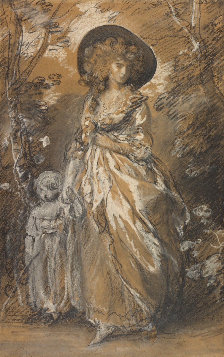 Томас Гейнсборо. Женщина с ребенком на прогулке в саду
