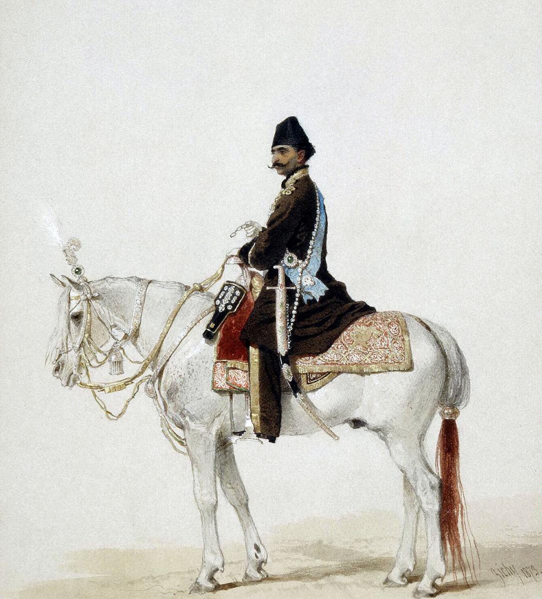 Михай Зичи. Насир-ад-Дин Шах верхом на лошади
