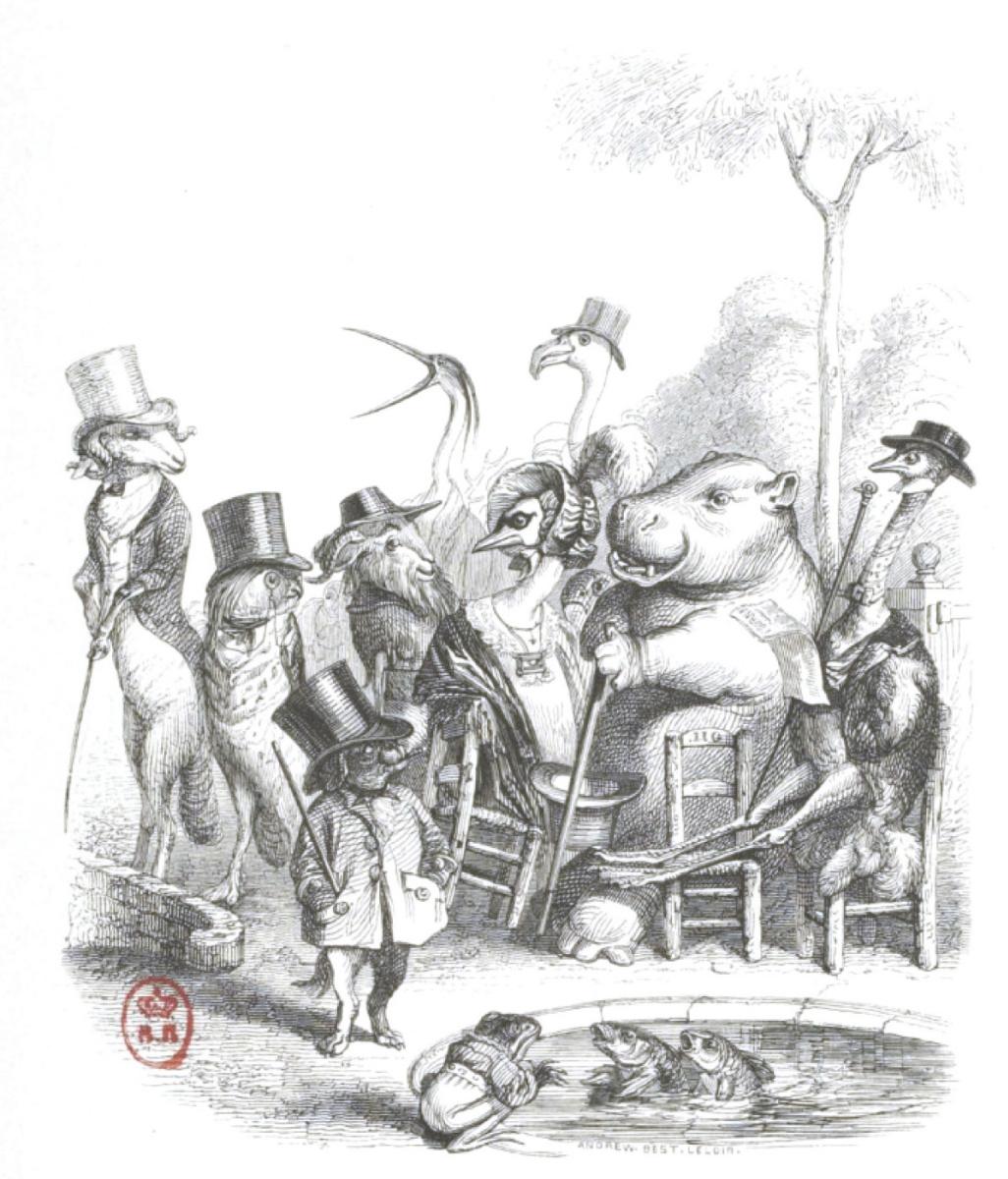 """Жан Иньяс Изидор (Жерар) Гранвиль. Семейство у пруда с золотыми рыбками. """"Сцены общественной и частной жизни животных"""""""