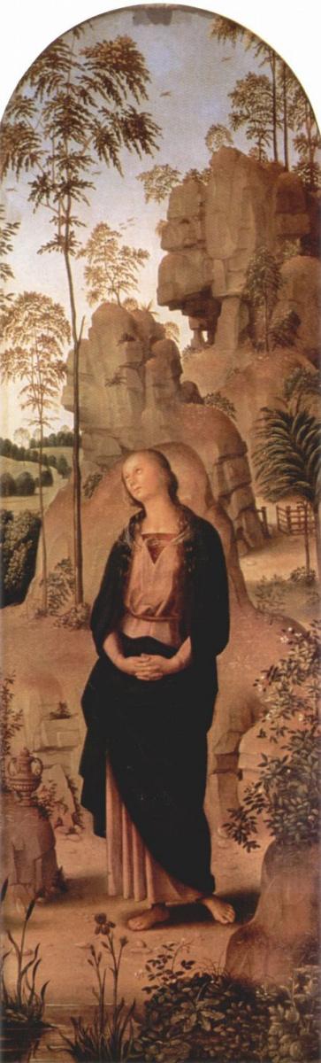 Пьетро Перуджино. Голицинский триптих, правая створка: св. Мария Магдалина