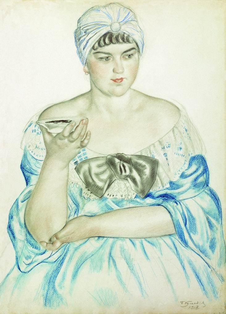 Boris Kustodiev. Woman drinking tea