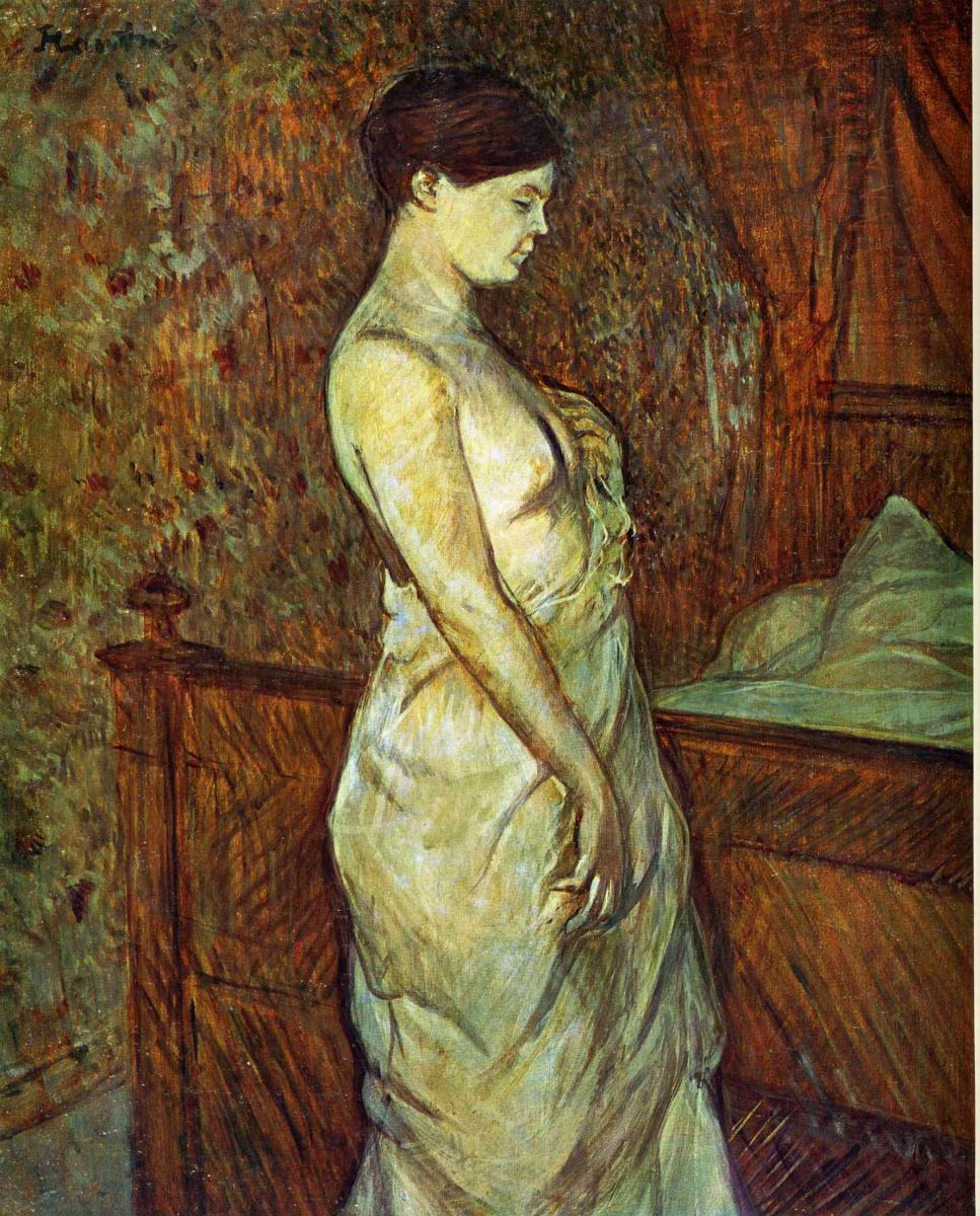 Анри де Тулуз-Лотрек. Женщина в сорочке, стоящая около кровати