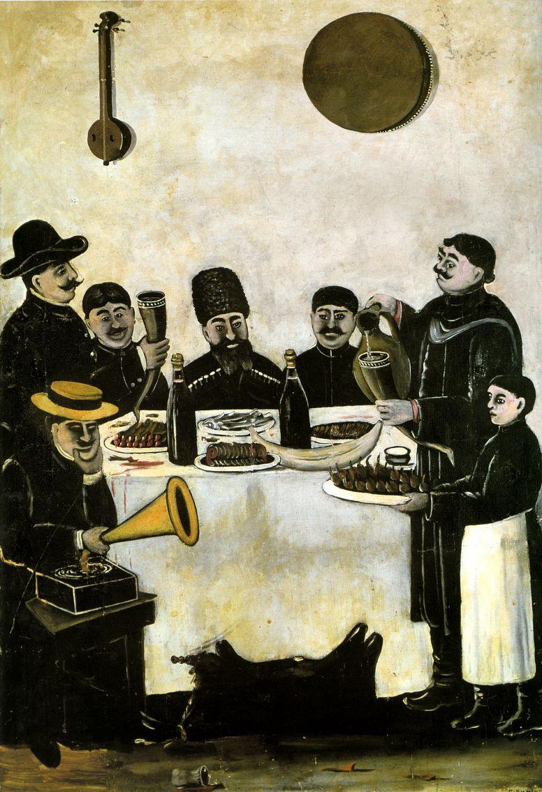 Нико Пиросмани (Пиросманашвили). Обед тифлисских торговцев с граммофоном