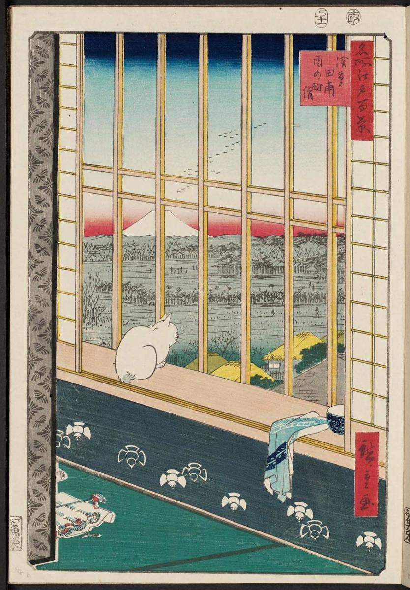 Утагава Хиросигэ. Рисовые поля Асакусы и праздник Ториномаси