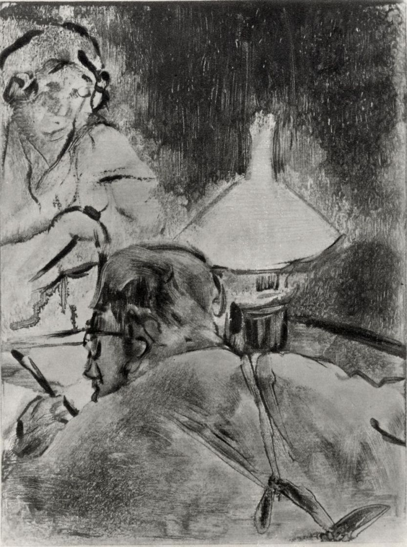 Edgar Degas. Reading by the light of the lamp