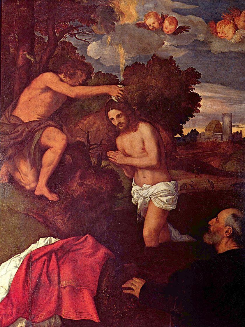Тициан Вечеллио. Крещение с заказчиком Джованни Рамом