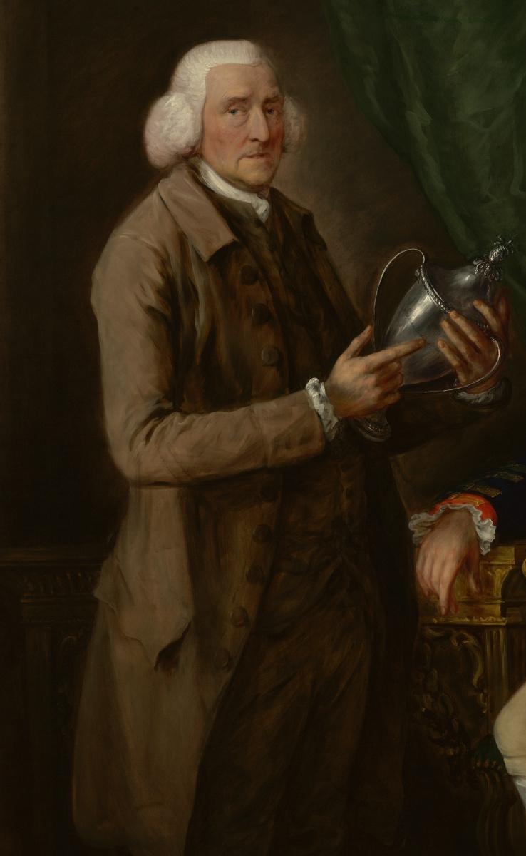 Томас Гейнсборо. Портрет Уильяма Энн Холлиса, 4-го графа Эссекса, показывающего кубок Томасу Клуттербаку из Уотфорда. Фрагмент
