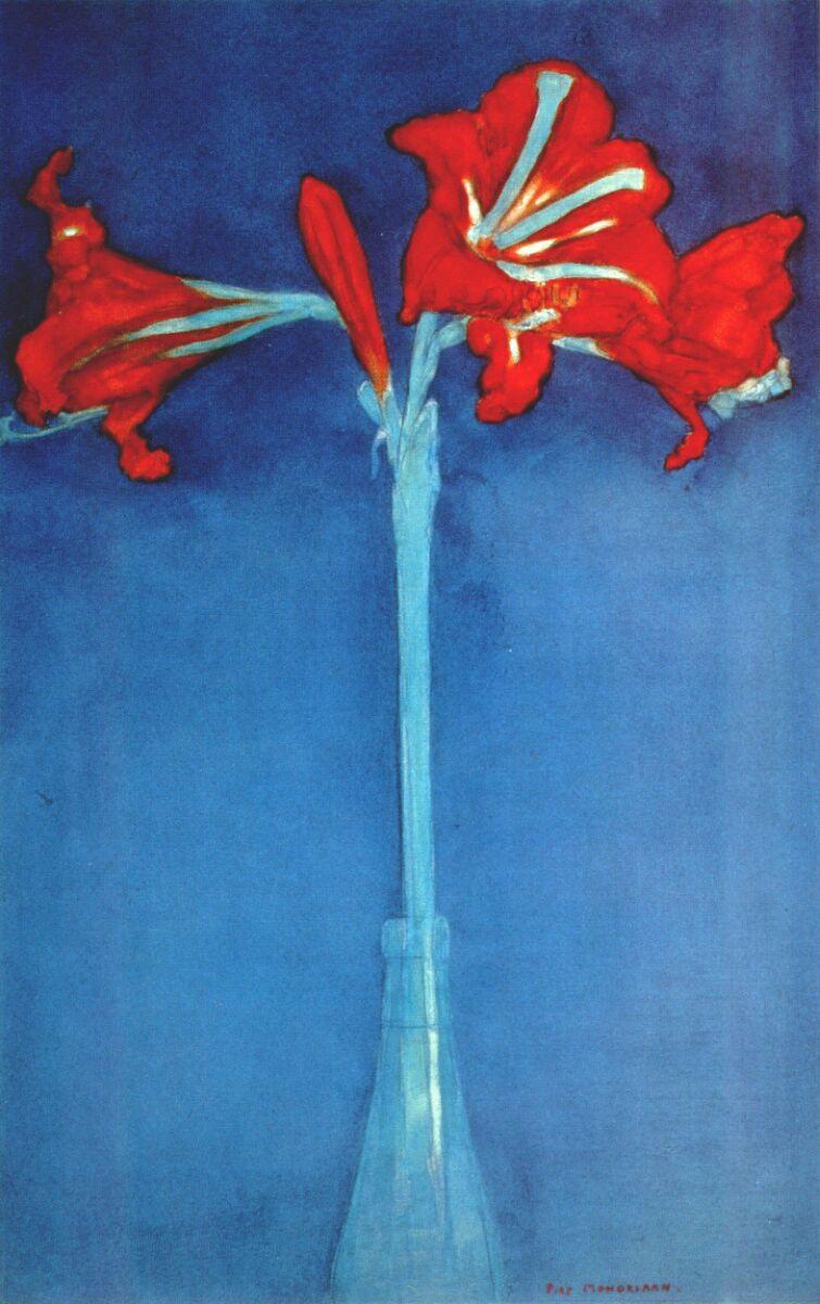 Пит Мондриан. Амариллис на синем фоне
