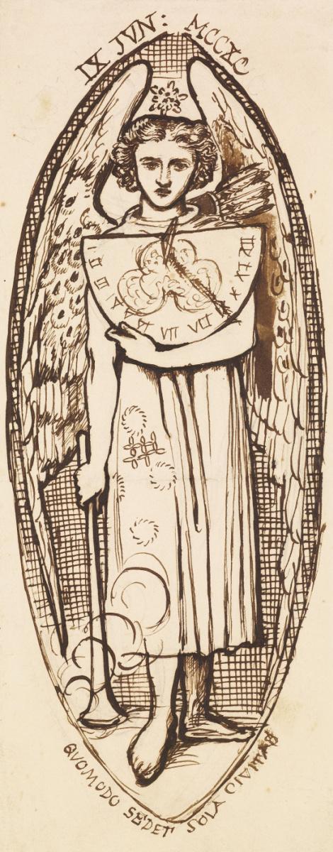 Данте Габриэль Россетти. Любовь Данте. Эскиз ангела Любви с факелом и солнечными часами