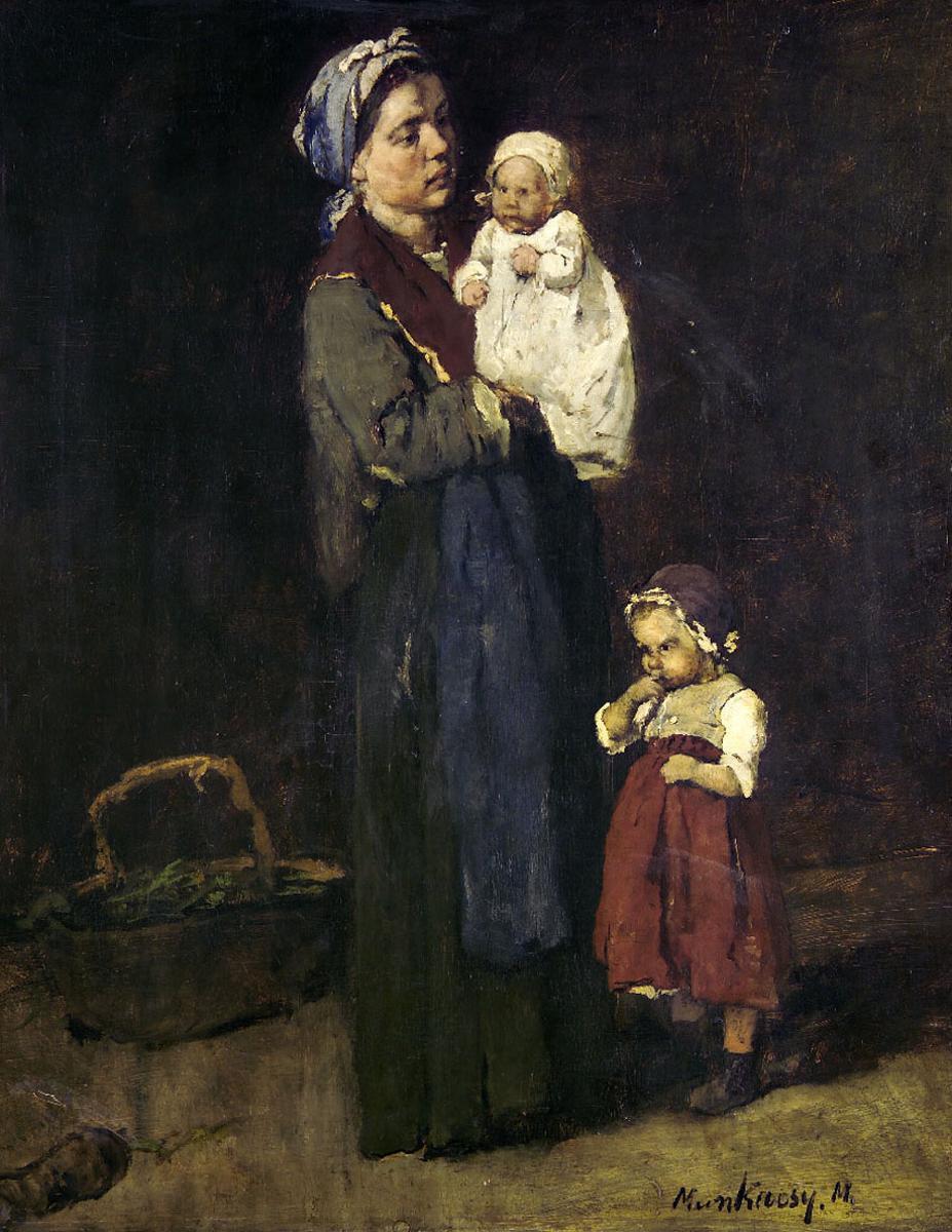 """Михай Либ Мункачи. Женщина с детьми. Эскиз для картины """"В ломбарде"""""""
