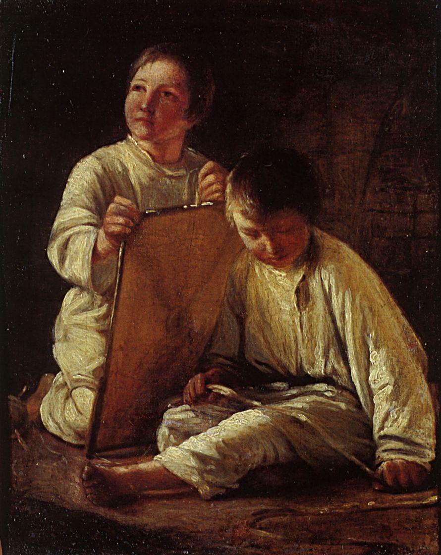 Алексей Гаврилович Венецианов. Два крестьянских мальчика со змеем